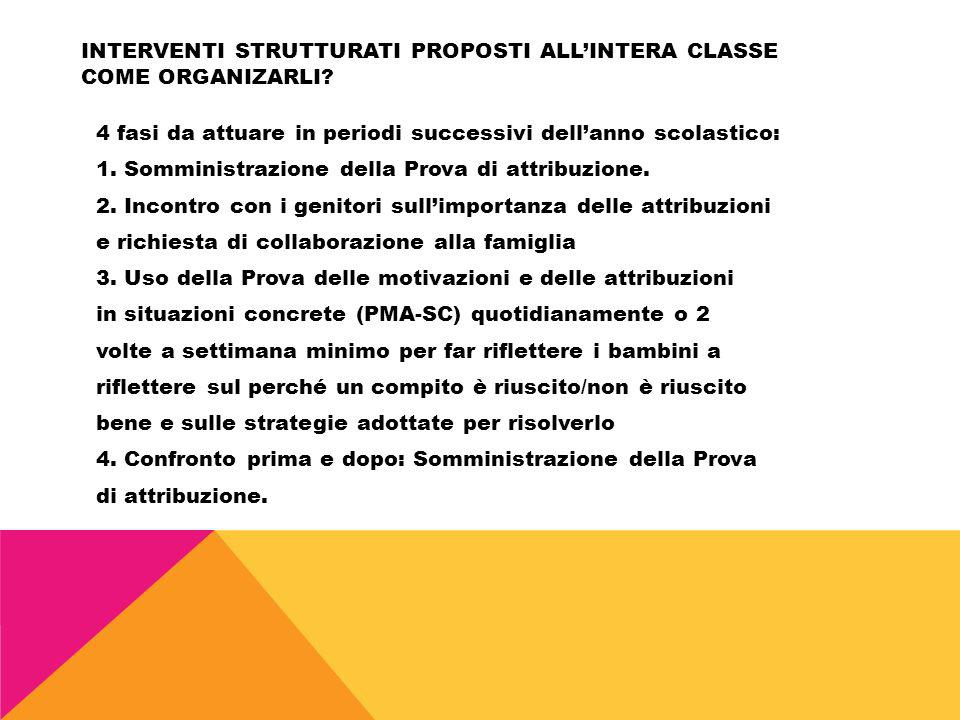 Interventi strutturati proposti all'intera classe COME ORGANIZARLI