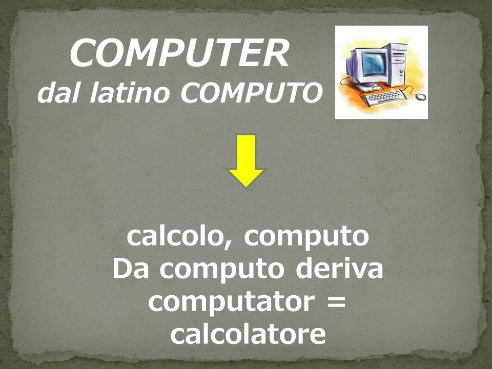 Da computo deriva computator = calcolatore
