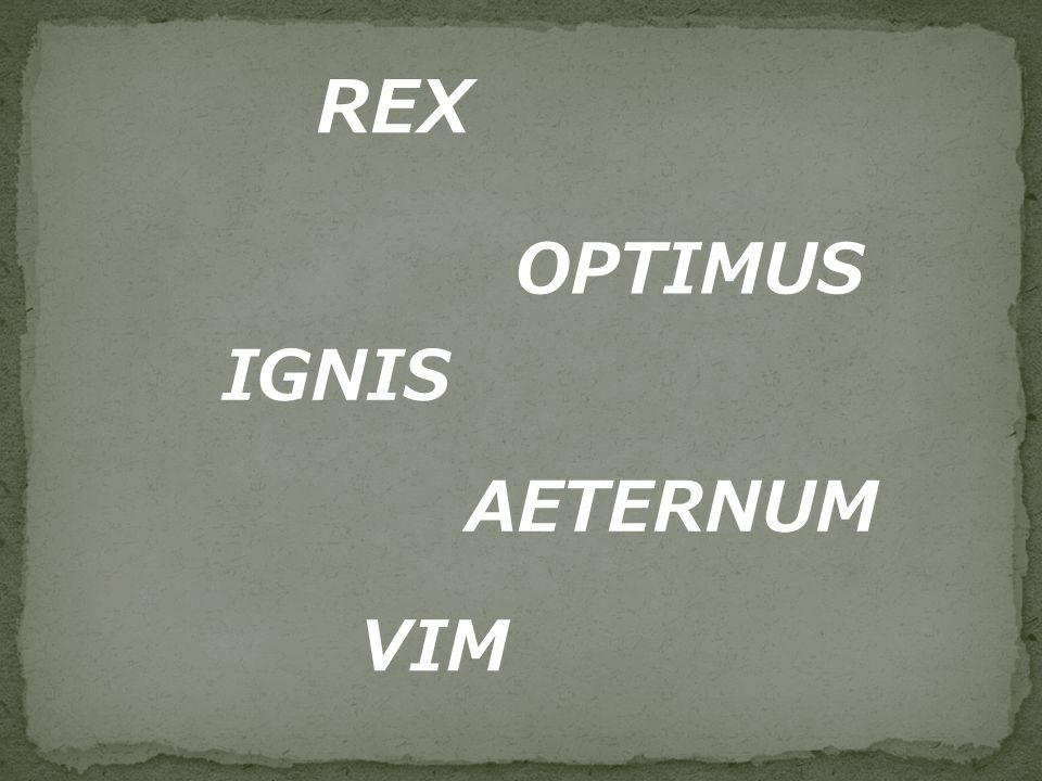 REX OPTIMUS IGNIS AETERNUM VIM