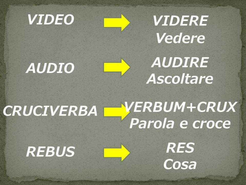 VIDERE Vedere VIDEO AUDIRE Ascoltare AUDIO VERBUM+CRUX Parola e croce CRUCIVERBA RES Cosa REBUS