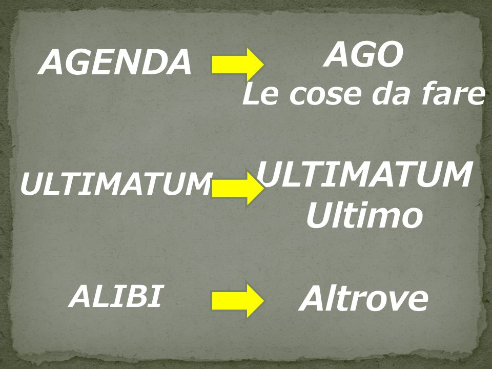 AGO AGENDA ULTIMATUM Ultimo Altrove