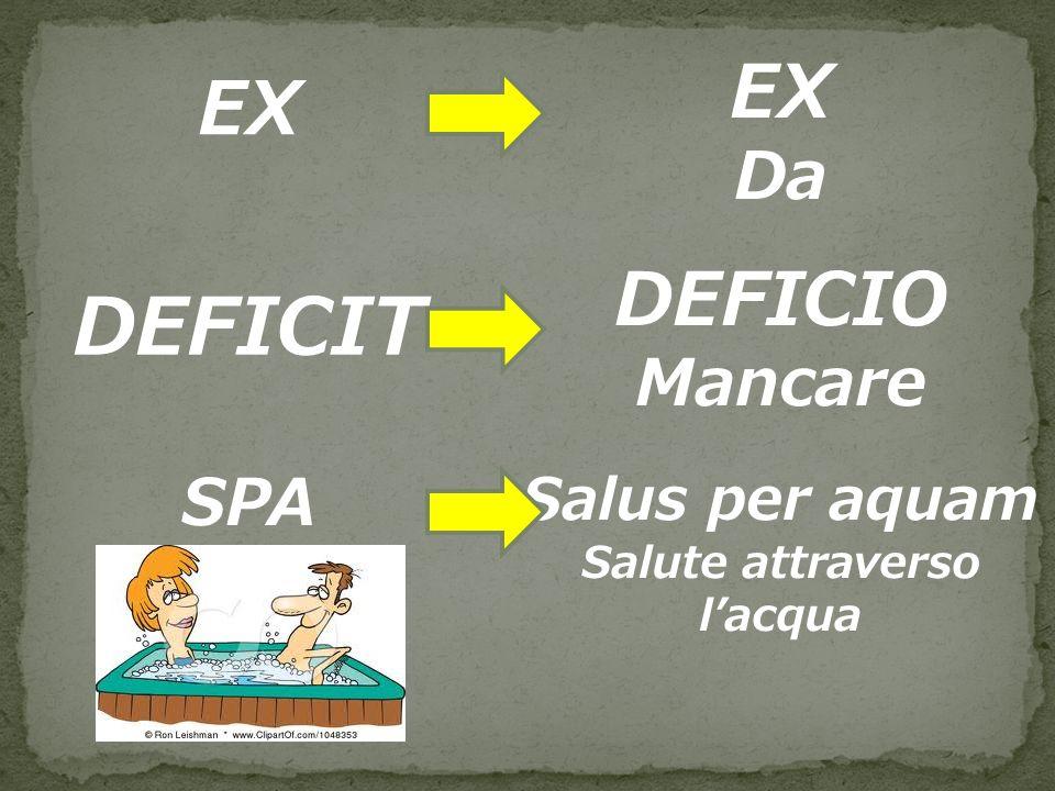 DEFICIT EX EX DEFICIO Da Mancare SPA Salus per aquam Salute attraverso