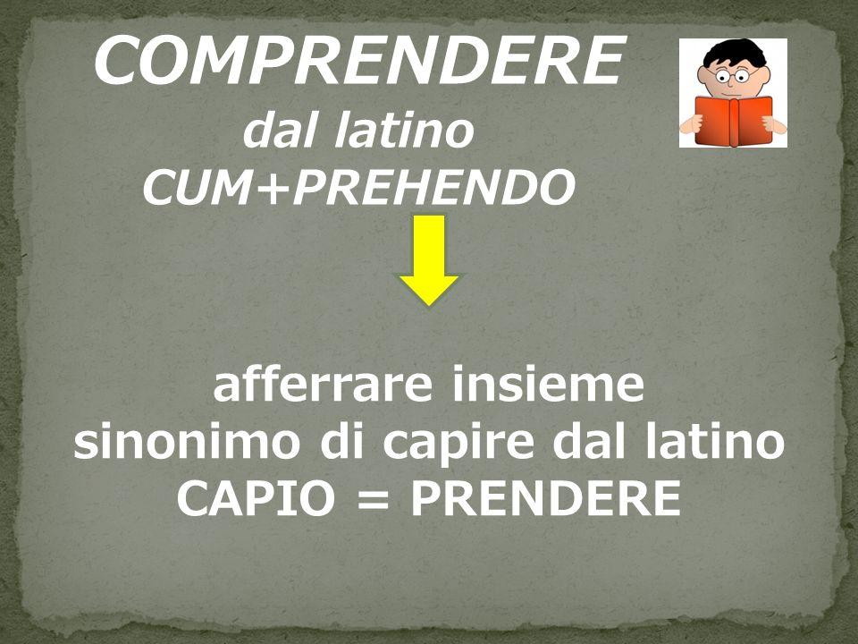 dal latino CUM+PREHENDO sinonimo di capire dal latino