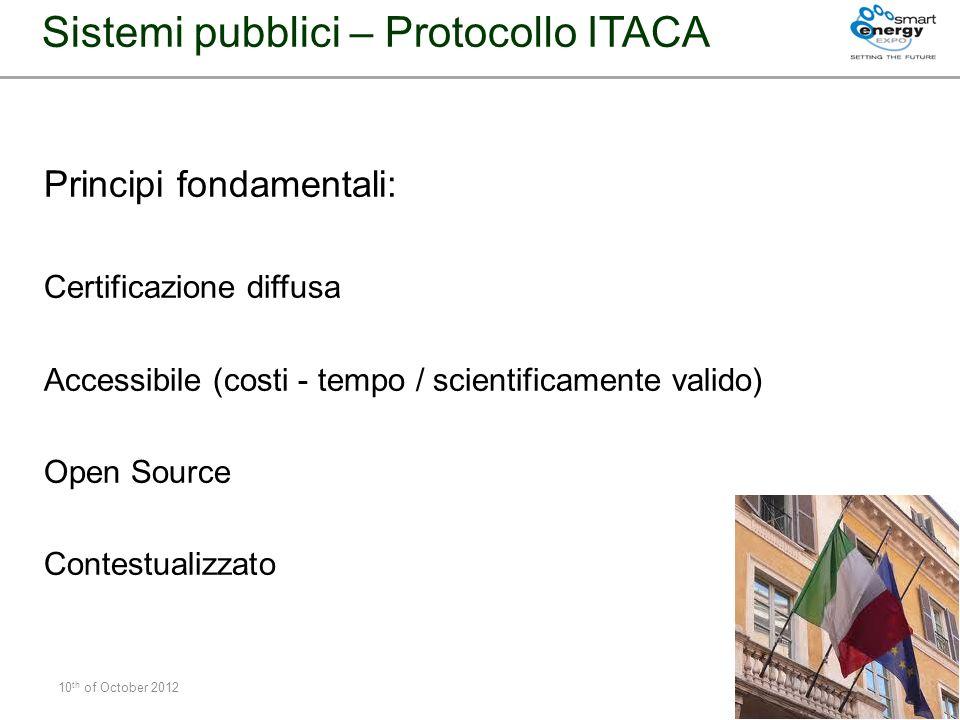 Sistemi pubblici – Protocollo ITACA