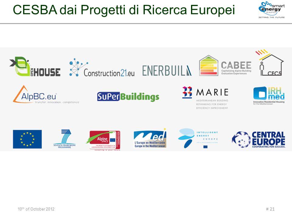CESBA dai Progetti di Ricerca Europei