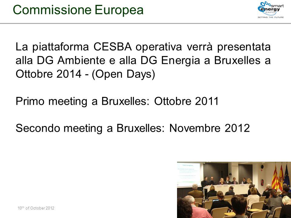 Commissione EuropeaLa piattaforma CESBA operativa verrà presentata alla DG Ambiente e alla DG Energia a Bruxelles a Ottobre 2014 - (Open Days)