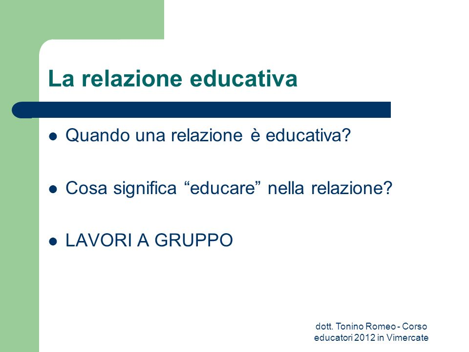 La relazione educativa