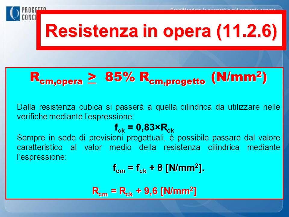 Rcm,opera > 85% Rcm,progetto (N/mm2)