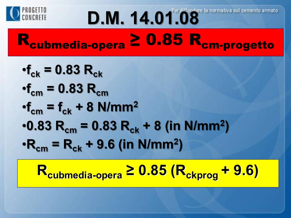 D.M. 14.01.08 Rcubmedia-opera ≥ 0.85 Rcm-progetto