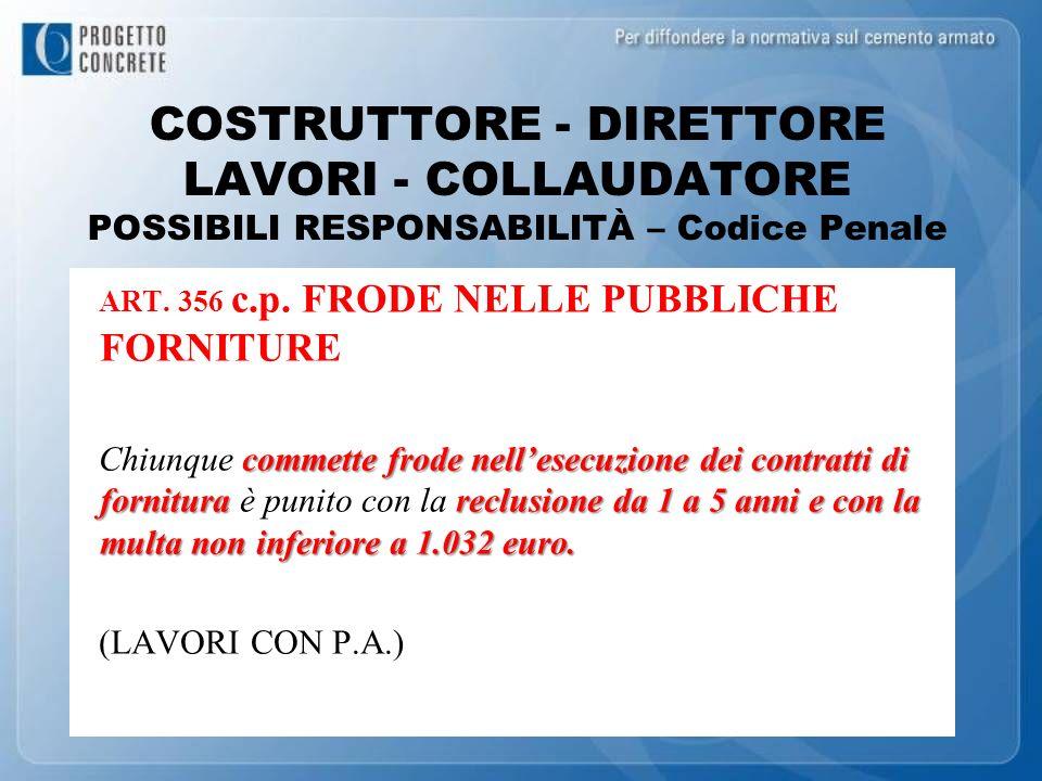 COSTRUTTORE - DIRETTORE LAVORI - COLLAUDATORE POSSIBILI RESPONSABILITÀ – Codice Penale