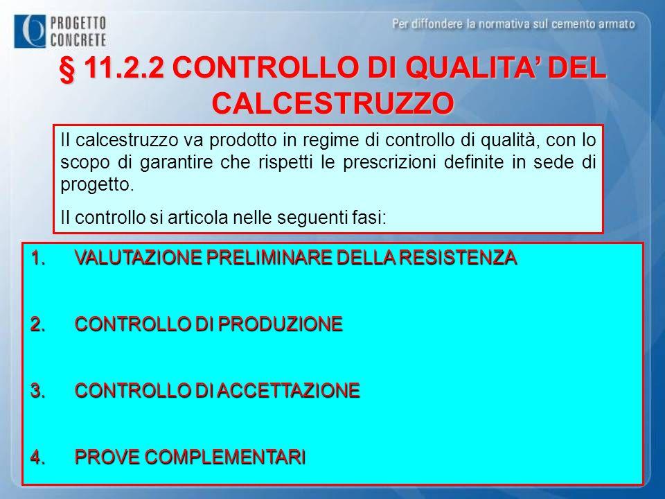§ 11.2.2 CONTROLLO DI QUALITA' DEL CALCESTRUZZO