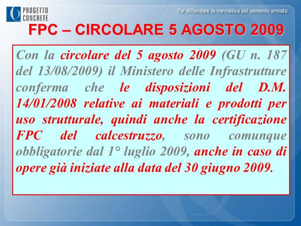 FPC – CIRCOLARE 5 AGOSTO 2009