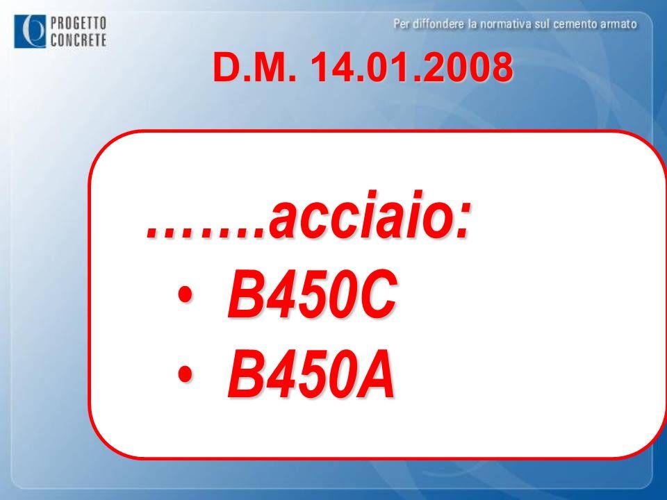D.M. 14.01.2008 …….acciaio: B450C B450A