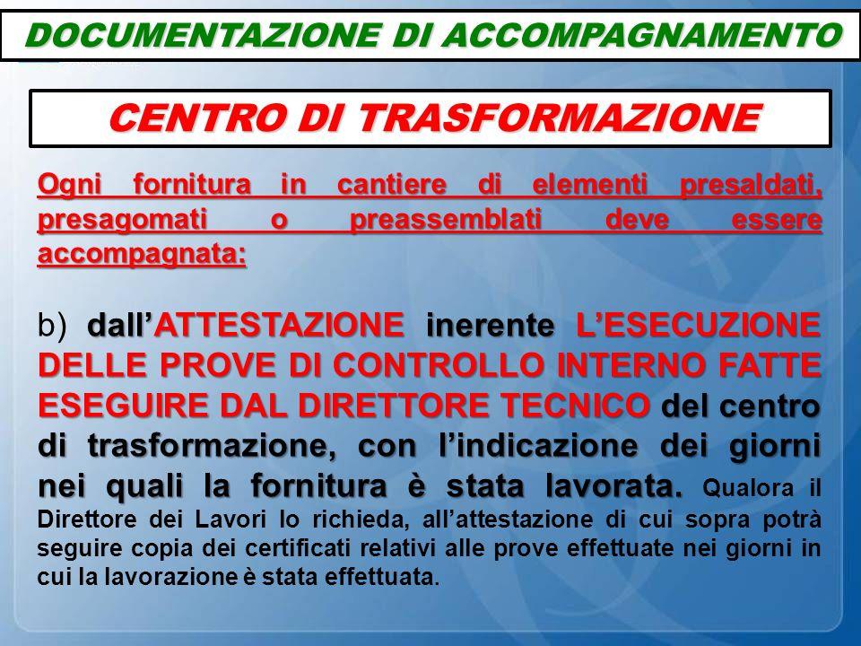 DOCUMENTAZIONE DI ACCOMPAGNAMENTO CENTRO DI TRASFORMAZIONE