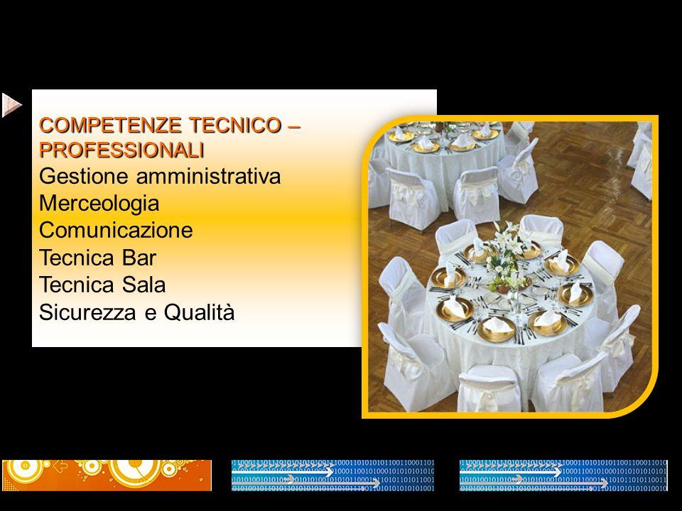 Gestione amministrativa Merceologia Comunicazione Tecnica Bar