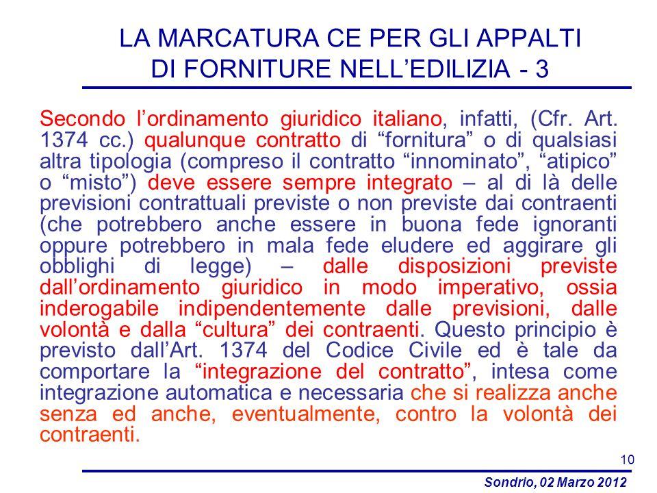 LA MARCATURA CE PER GLI APPALTI DI FORNITURE NELL'EDILIZIA - 3