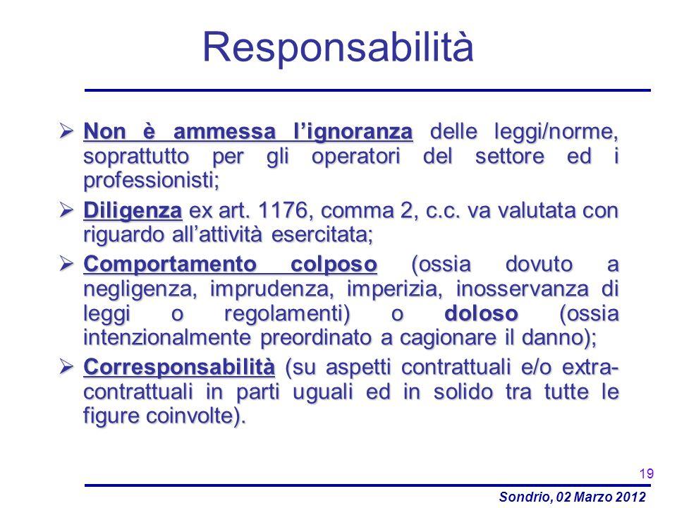 Responsabilità Non è ammessa l'ignoranza delle leggi/norme, soprattutto per gli operatori del settore ed i professionisti;
