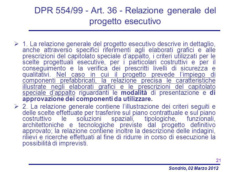 DPR 554/99 - Art. 36 - Relazione generale del progetto esecutivo