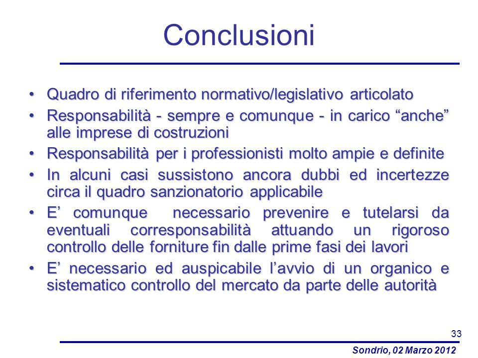 Conclusioni Quadro di riferimento normativo/legislativo articolato