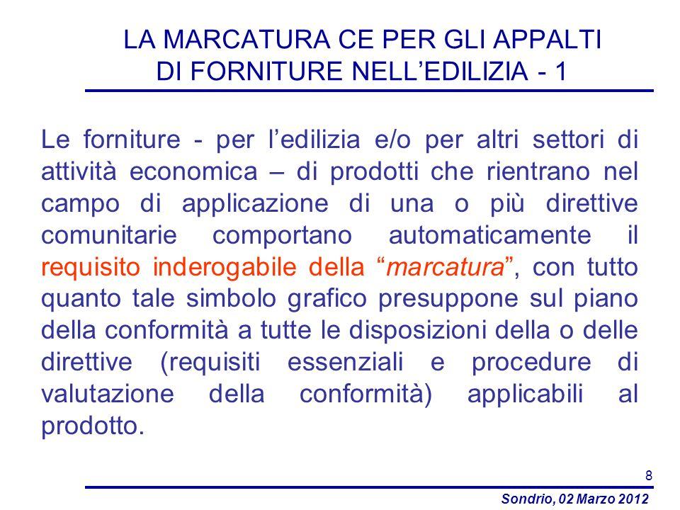 LA MARCATURA CE PER GLI APPALTI DI FORNITURE NELL'EDILIZIA - 1