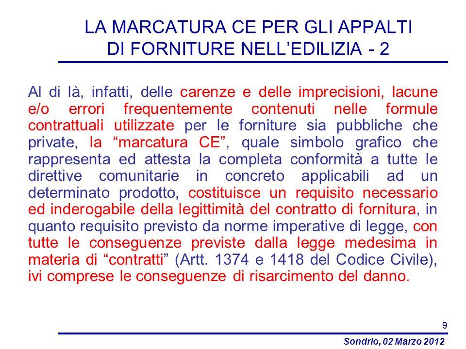 LA MARCATURA CE PER GLI APPALTI DI FORNITURE NELL'EDILIZIA - 2