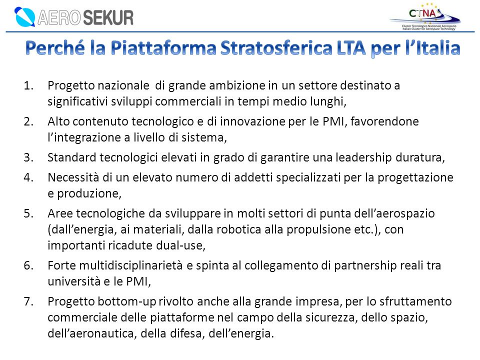 Perché la Piattaforma Stratosferica LTA per l'Italia