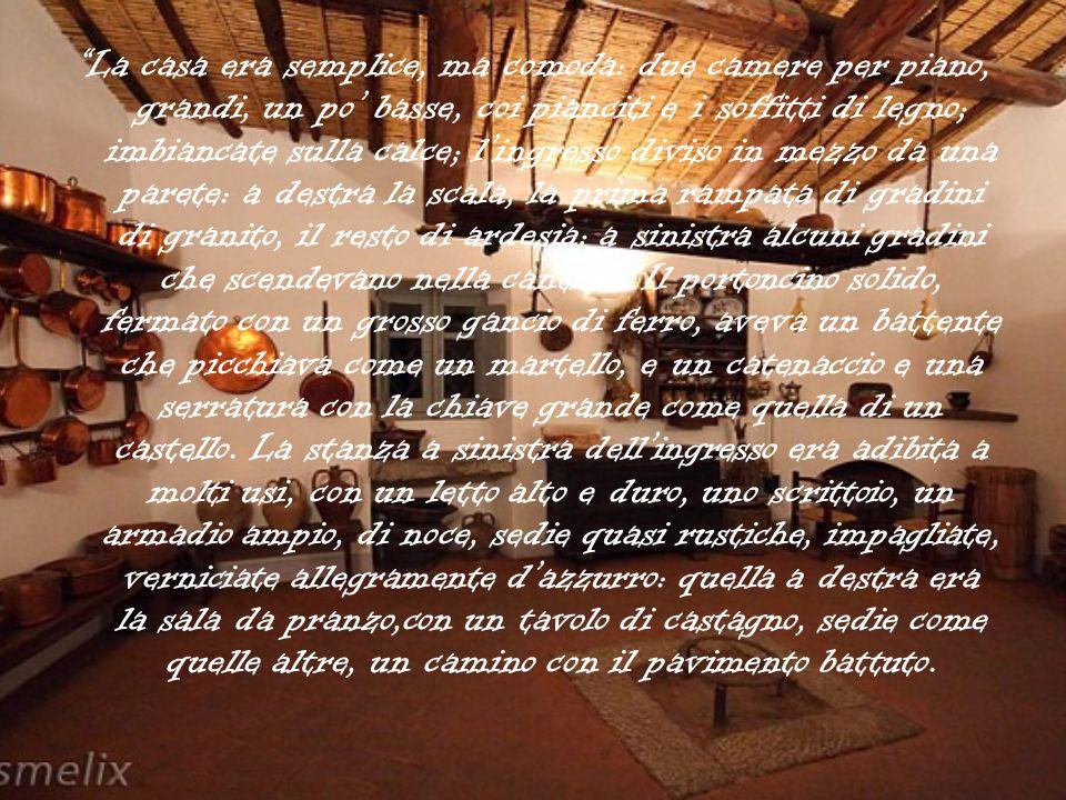 La casa era semplice, ma comoda: due camere per piano, grandi, un po' basse, coi pianciti e i soffitti di legno; imbiancate sulla calce; l'ingresso diviso in mezzo da una parete: a destra la scala, la prima rampata di gradini di granito, il resto di ardesia; a sinistra alcuni gradini che scendevano nella cantina.