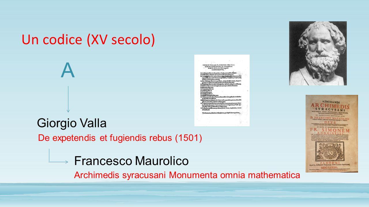A Un codice (XV secolo) Giorgio Valla Francesco Maurolico
