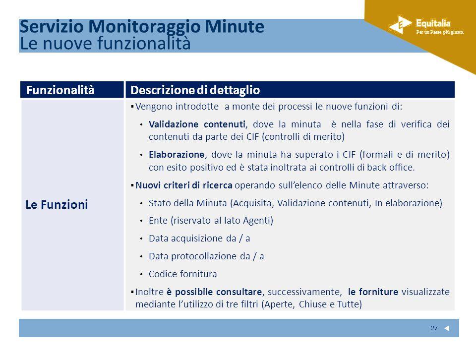 Servizio Monitoraggio Minute Le nuove funzionalità