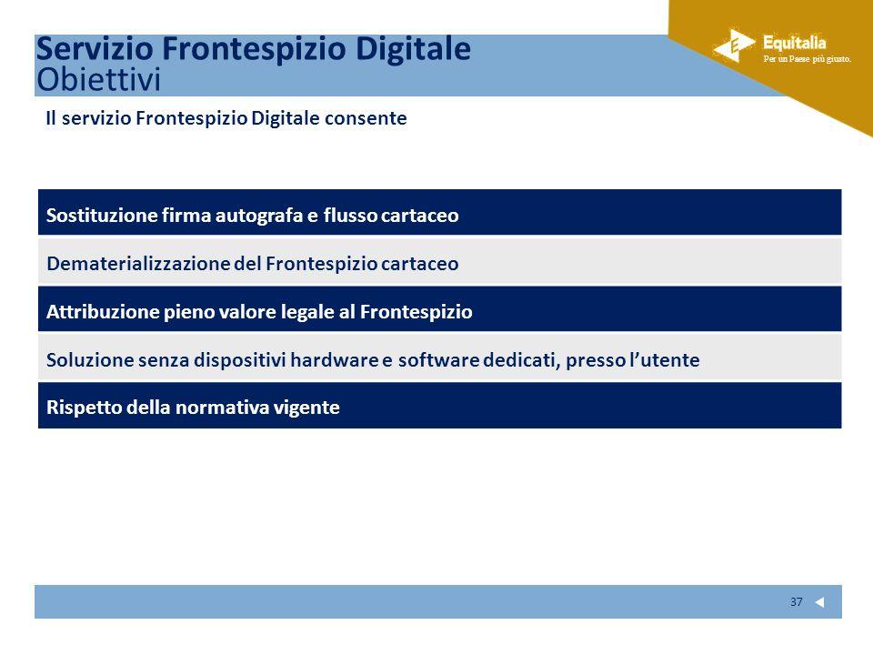 Servizio Frontespizio Digitale Obiettivi