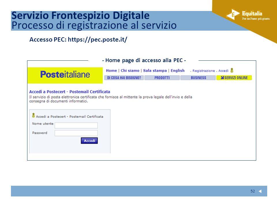 - Home page di accesso alla PEC -