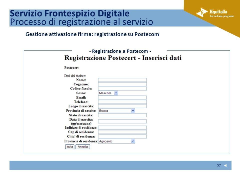 - Registrazione a Postecom -