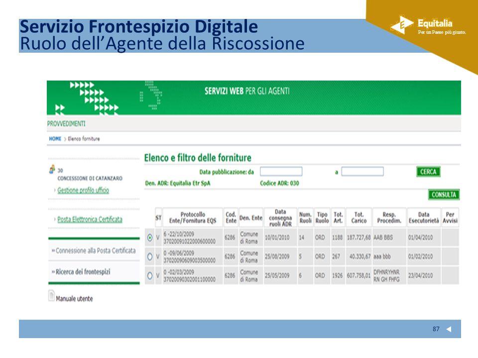 Servizio Frontespizio Digitale Ruolo dell'Agente della Riscossione