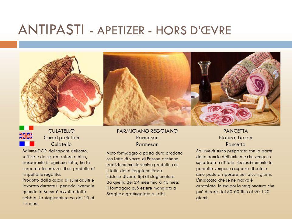ANTIPASTI - APETIZER - HORS D'ŒVRE