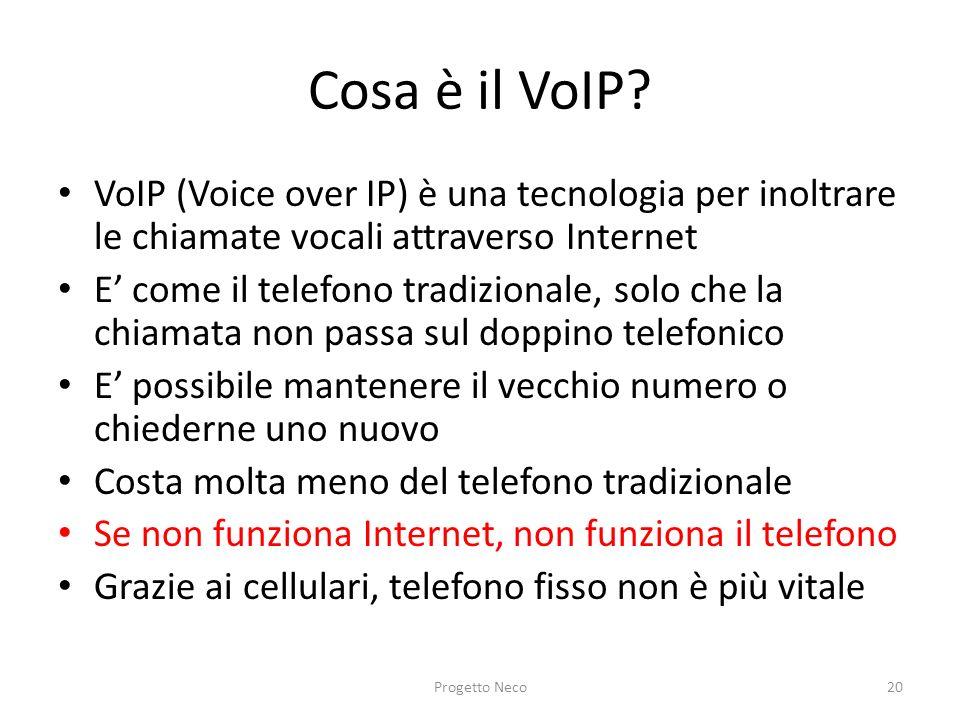 Cosa è il VoIP VoIP (Voice over IP) è una tecnologia per inoltrare le chiamate vocali attraverso Internet.