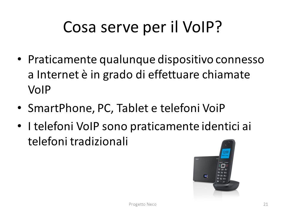 Cosa serve per il VoIP Praticamente qualunque dispositivo connesso a Internet è in grado di effettuare chiamate VoIP.