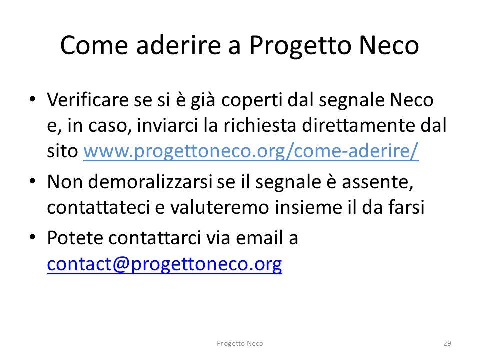 Come aderire a Progetto Neco
