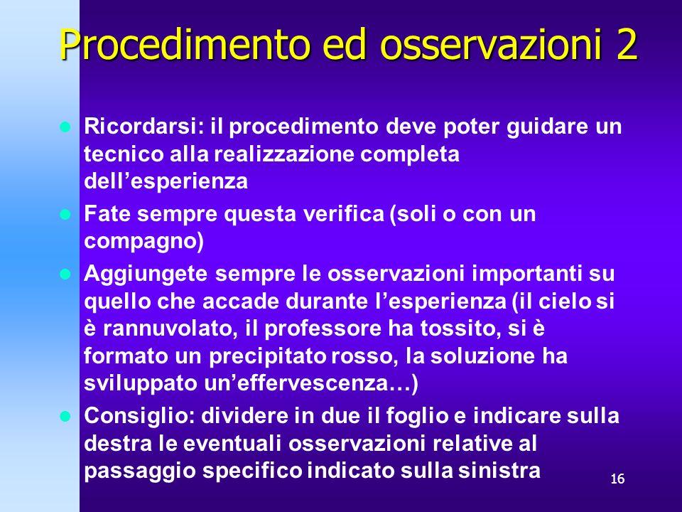 Procedimento ed osservazioni 2