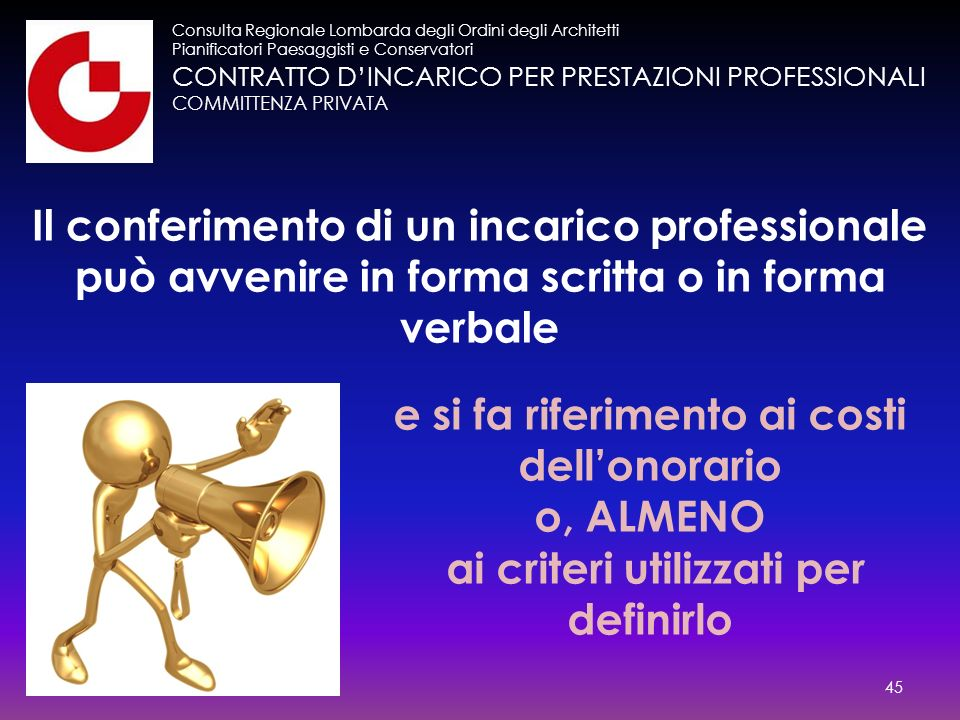 CONTRATTO D'INCARICO PER PRESTAZIONI PROFESSIONALI COMMITTENZA PRIVATA