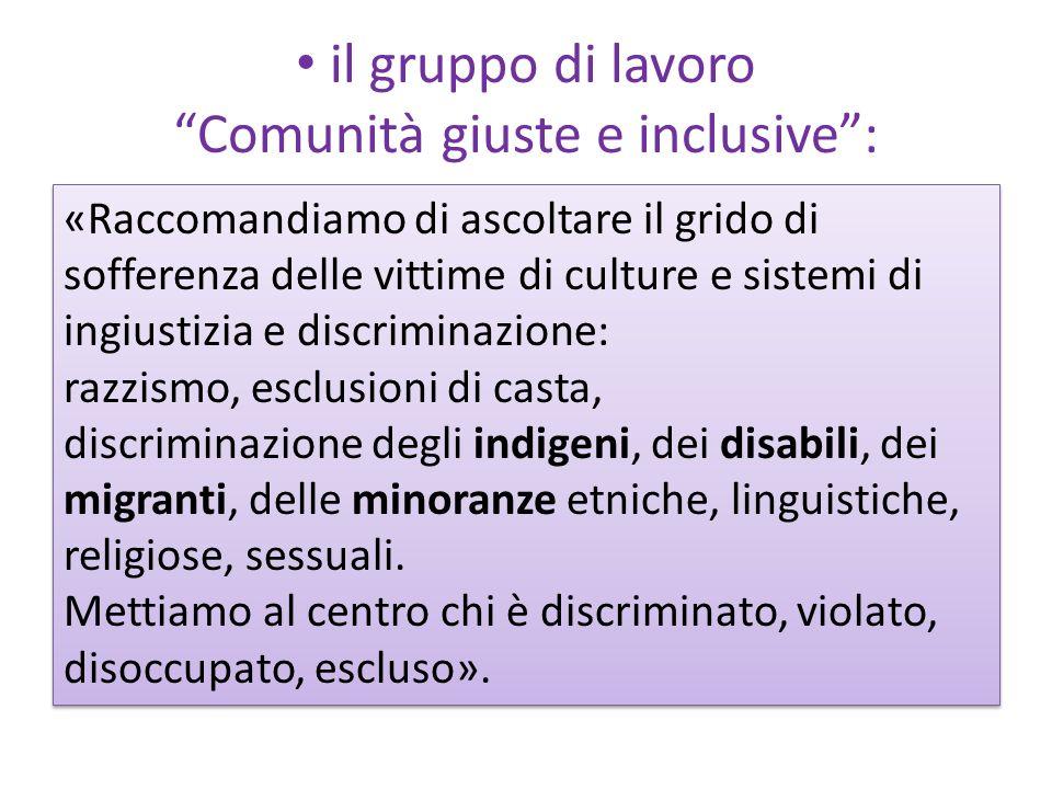 il gruppo di lavoro Comunità giuste e inclusive :