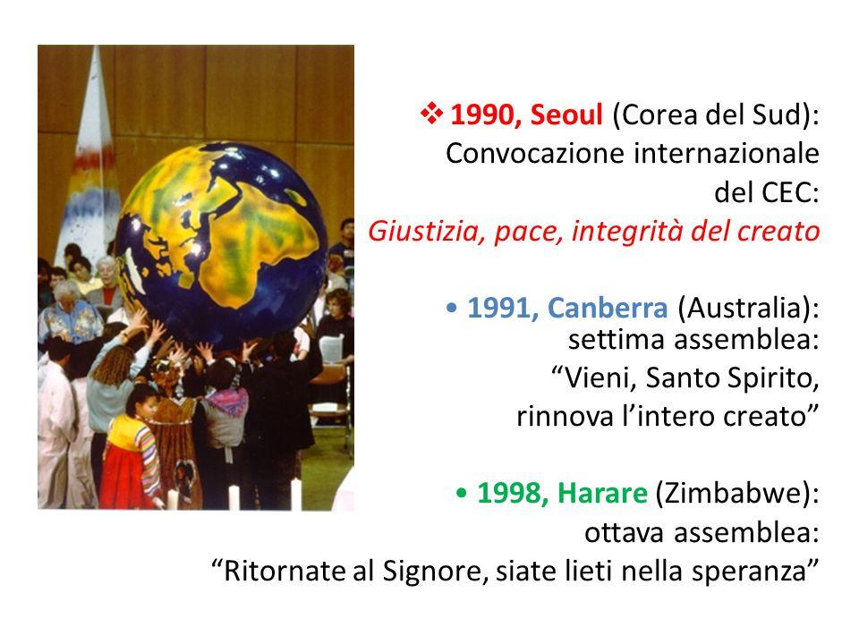 1990, Seoul (Corea del Sud): Convocazione internazionale. del CEC: Giustizia, pace, integrità del creato.