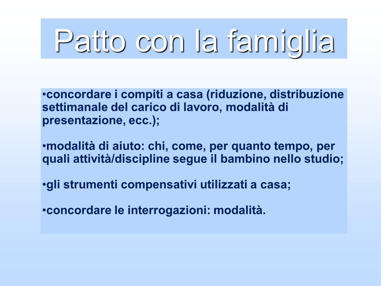 Patto con la famigliaconcordare i compiti a casa (riduzione, distribuzione settimanale del carico di lavoro, modalità di presentazione, ecc.);