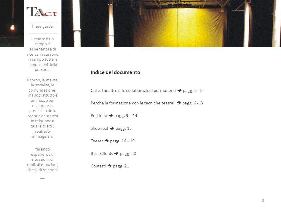 Indice del documento linee guida