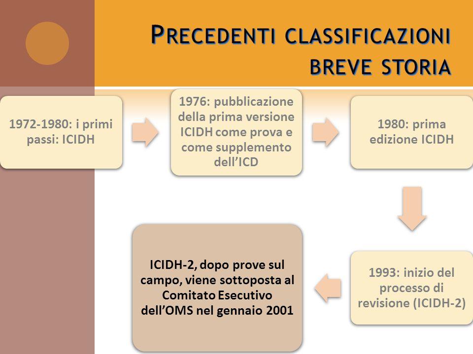 Precedenti classificazioni breve storia