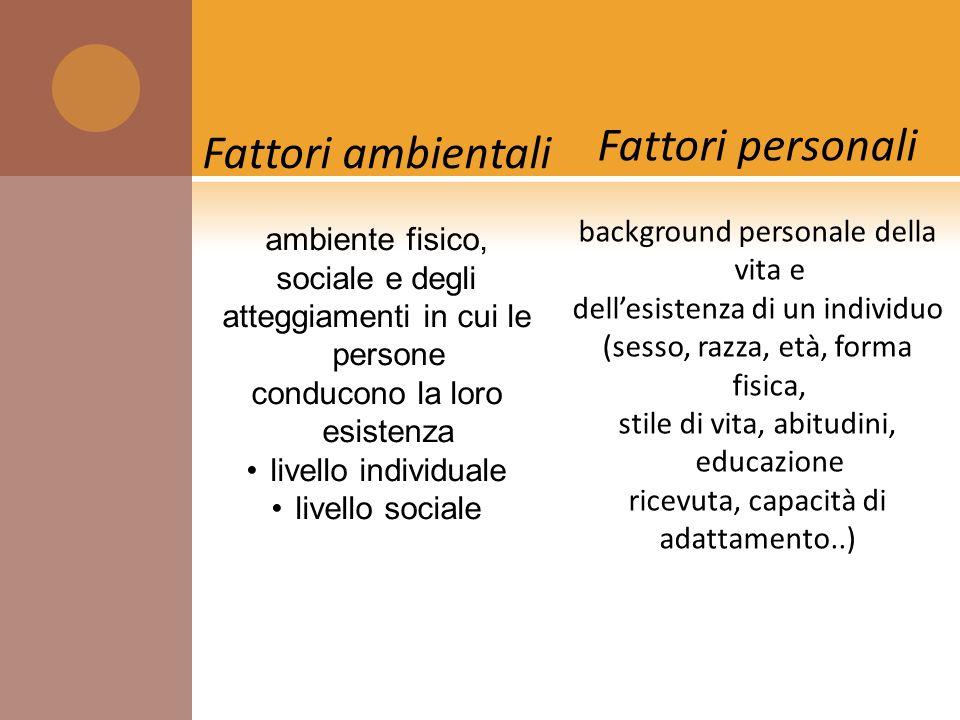 Fattori personali Fattori ambientali background personale della vita e