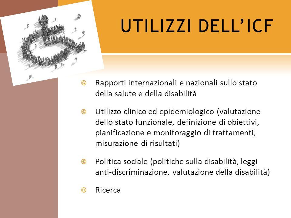 UTILIZZI DELL'ICF Rapporti internazionali e nazionali sullo stato della salute e della disabilità.