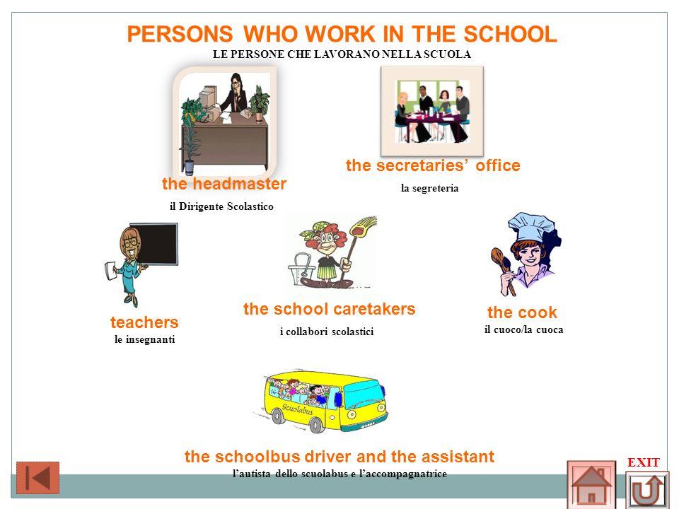 PERSONS WHO WORK IN THE SCHOOL LE PERSONE CHE LAVORANO NELLA SCUOLA