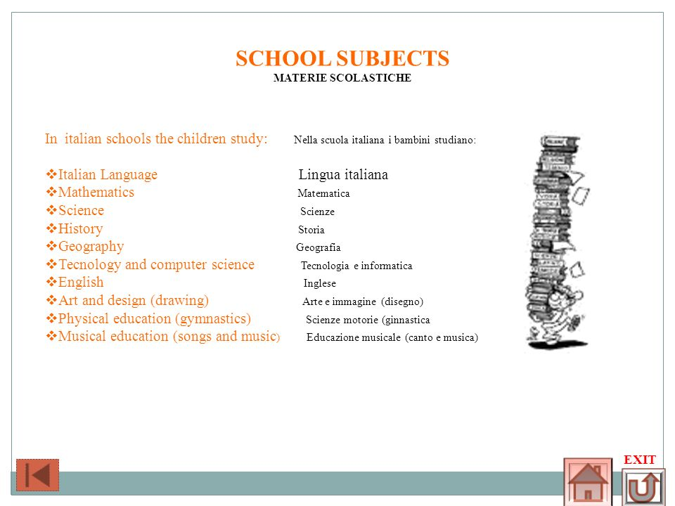 SCHOOL SUBJECTS MATERIE SCOLASTICHE. In italian schools the children study: Nella scuola italiana i bambini studiano: