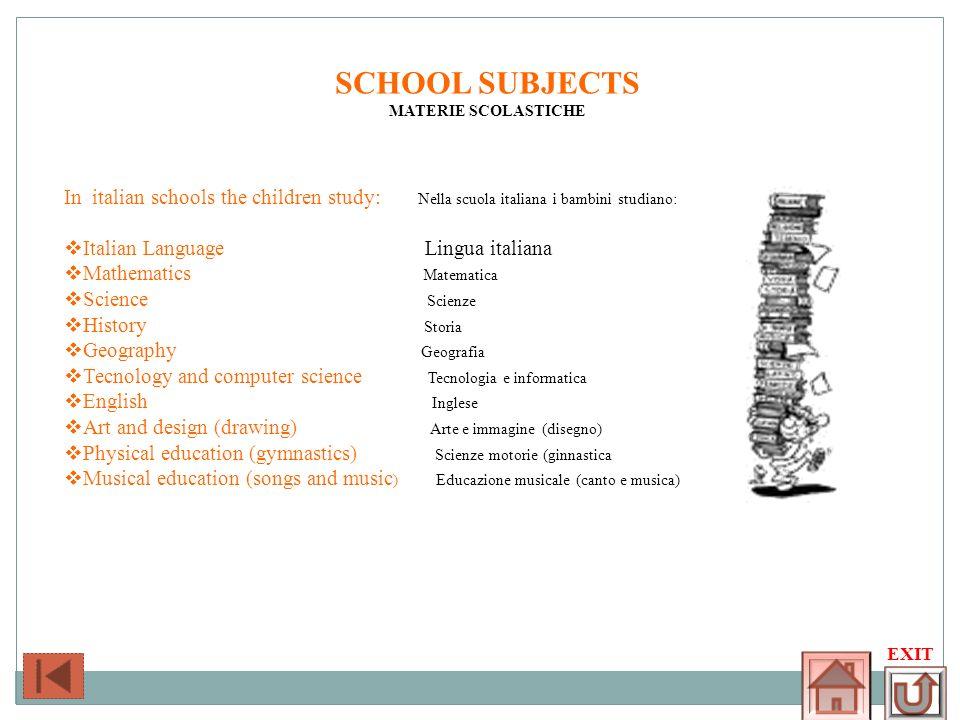 SCHOOL SUBJECTSMATERIE SCOLASTICHE. In italian schools the children study: Nella scuola italiana i bambini studiano: