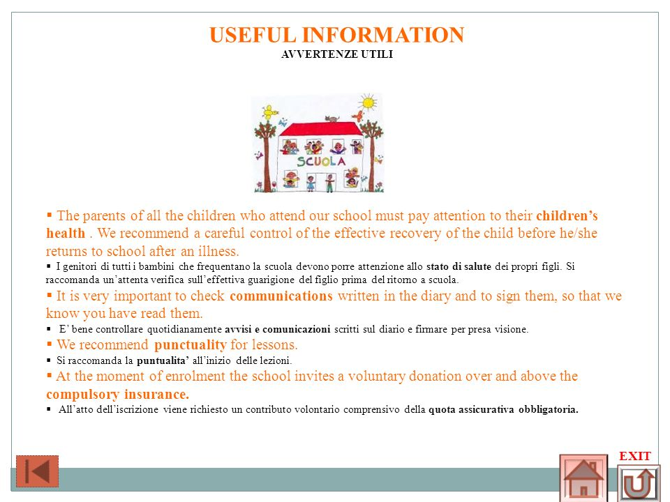 USEFUL INFORMATIONAVVERTENZE UTILI.